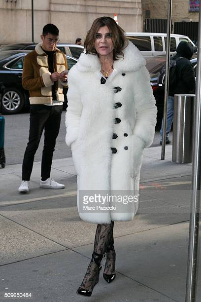 Carine Roitfeld arrives to attend the 'Kanye West Yeezy Season 3' at Madison Square Garden on February 11 2016 in New York City