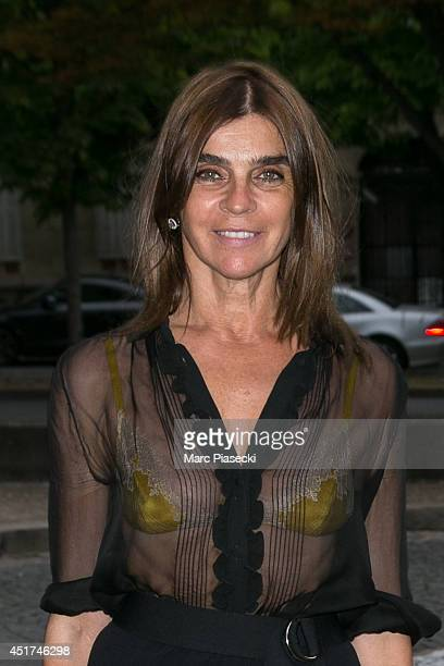 Carine Roitfeld arrives to attend the Miu Miu Resort Collection Presentation on July 5 2014 in Paris France