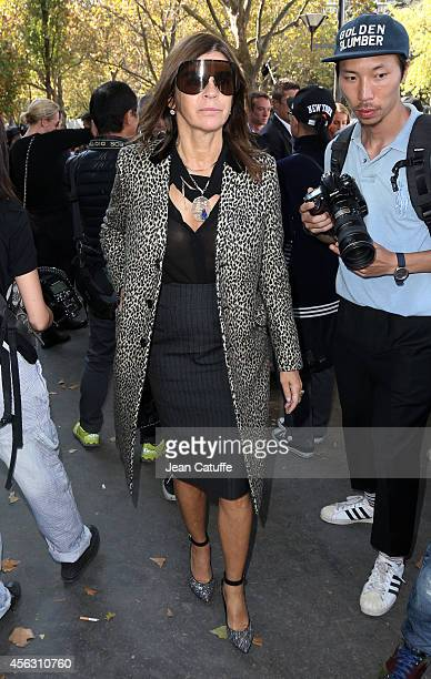 Carine Roitfeld attends Celine fashion show at the Tennis Club de Paris as part of the Paris Fashion Week Womenswear Spring/Summer 2015 on September...