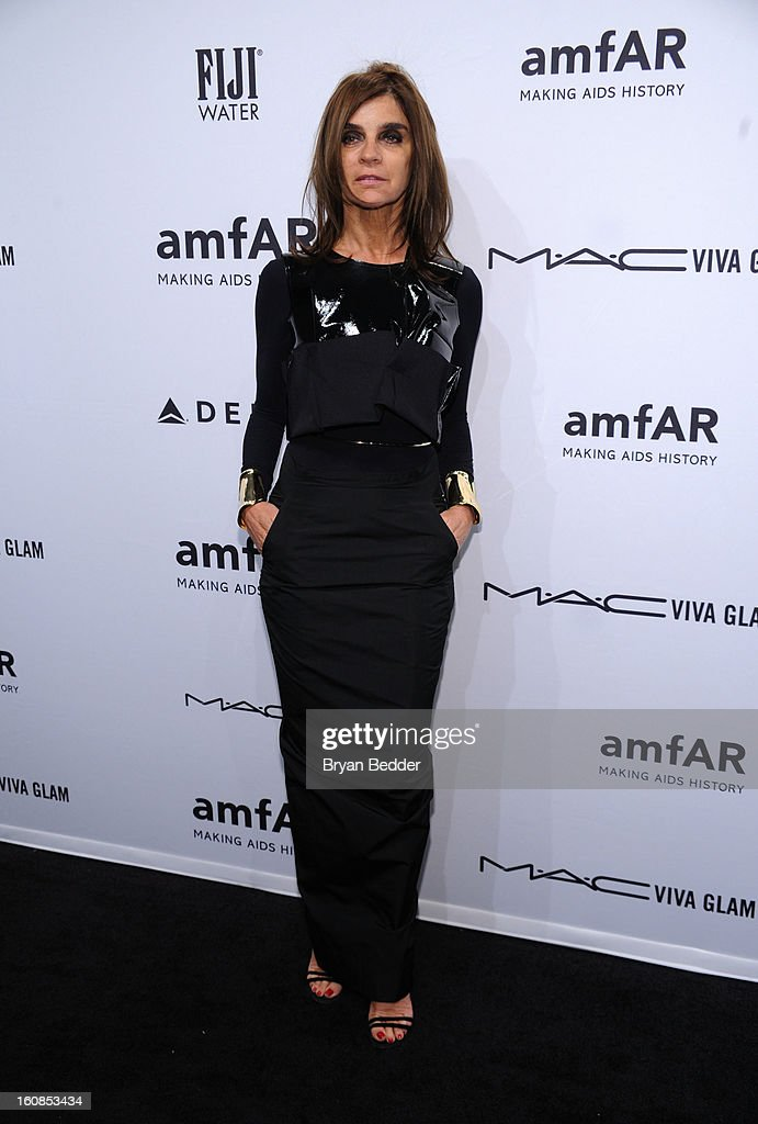 Carine Roitfeld attends the amfAR New York Gala to kick off Fall 2013 Fashion Week at Cipriani Wall Street on February 6, 2013 in New York City.