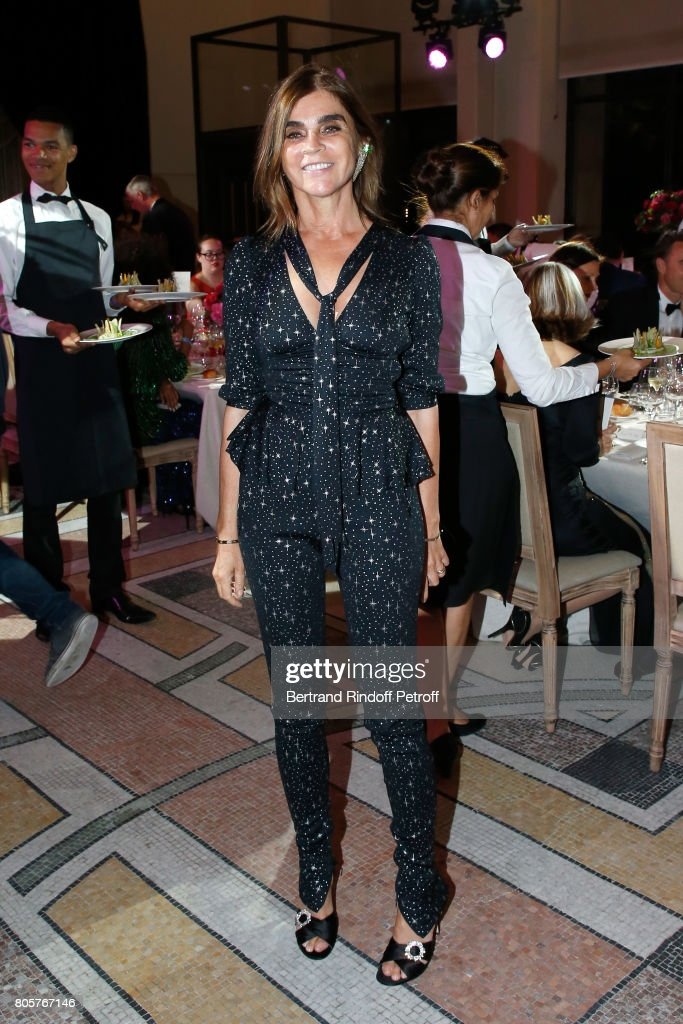 Carine Roitfeld attends the amfAR Paris Dinner 2017 at Le Petit Palais on July 2, 2017 in Paris, France.