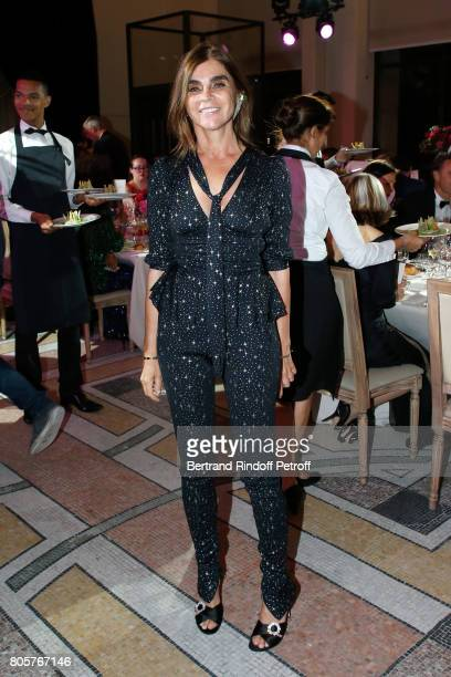 Carine Roitfeld attends the amfAR Paris Dinner 2017 at Le Petit Palais on July 2 2017 in Paris France