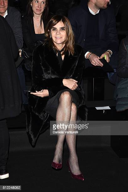 Carine Roitfeld attends the Anteprima show during Milan Fashion Week Fall/Winter 2016/17 on February 25 2016 in Milan Italy