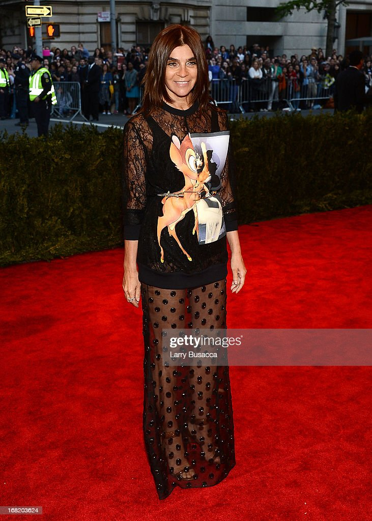 Carine Roitfeld attends the Costume Institute Gala for the 'PUNK: Chaos to Couture' exhibition at the Metropolitan Museum of Art on May 6, 2013 in New York City.
