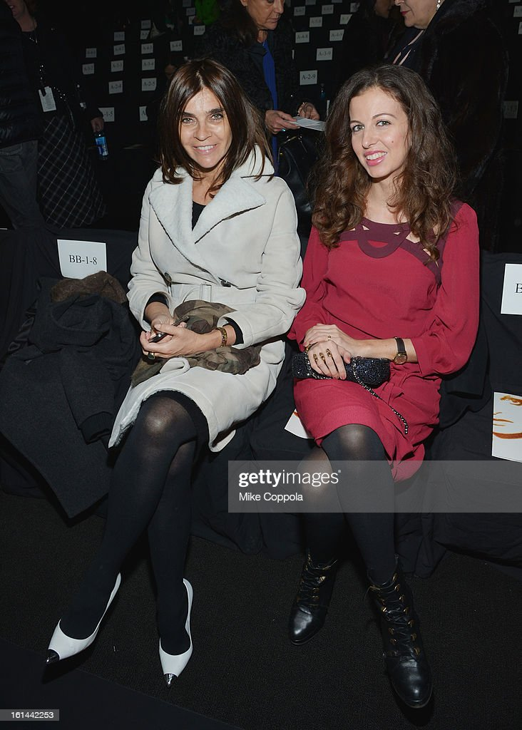 Carine Roitfeld (L) attends the Diane Von Furstenberg Fall 2013 fashion show during Mercedes-Benz Fashion at The Theatre at Lincoln Center on February 10, 2013 in New York City.