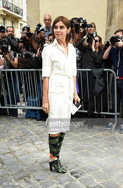 Carine Roitfeld attends the Dior show as part of Paris Fashion Week Haute Couture Fall/Winter 20142015 on July 7 2014 in Paris France