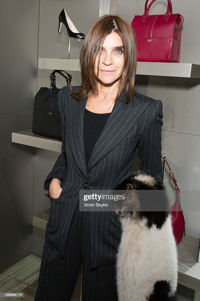 Carine Roitfeld attends the Giorgio Armani Paris avenue Montaigne boutique opening on January 22, 2013 in Paris, France.