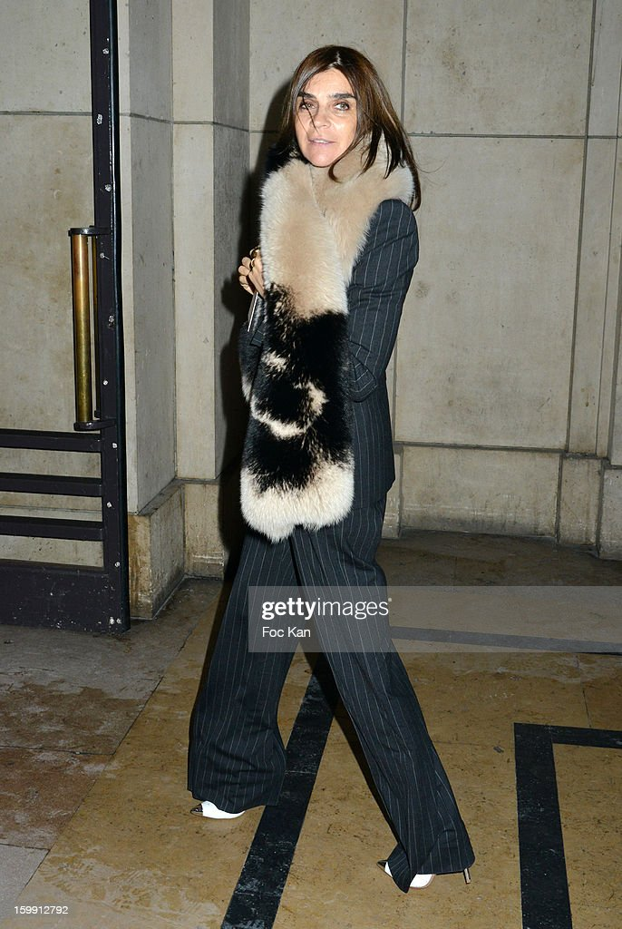 Carine Roitfeld attends the Giorgio Armani Prive Spring/Summer 2013 Haute-Couture show as part of Paris Fashion Week at Theatre National de Chaillot on January 22, 2013 in Paris, France.