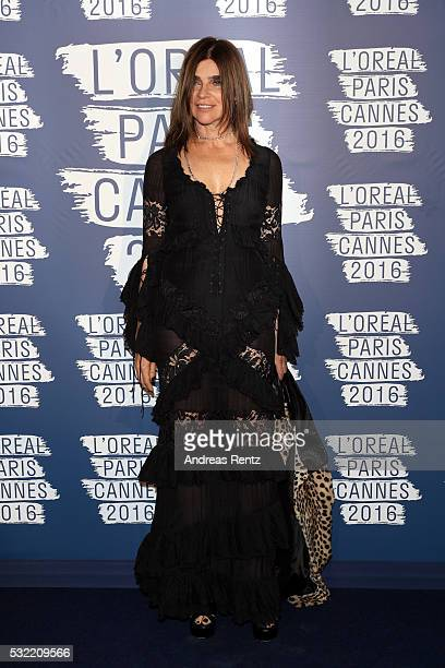 Carine Roitfeld attends the L'Oreal Paris Blue Obsession Party at the annual 69th Cannes Film Festival at Hotel Martinez on May 18 2016 in Cannes...