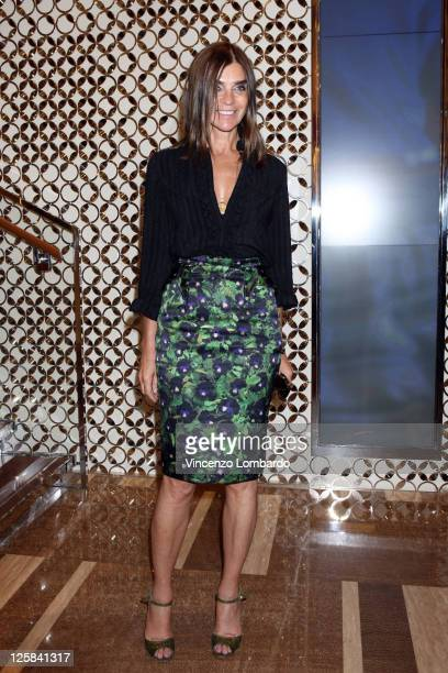Carine Roitfeld attends the Louis Vuitton flagship store opening during Milan Fashion Week Womenswear Spring/Summer 2012 on September 21 2011 in...