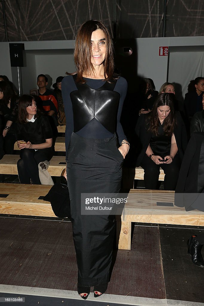 <a gi-track='captionPersonalityLinkClicked' href=/galleries/search?phrase=Carine+Roitfeld&family=editorial&specificpeople=240177 ng-click='$event.stopPropagation()'>Carine Roitfeld</a> attends the Saint Laurent Fall/Winter 2013 Ready-to-Wear show as part of Paris Fashion Week on March 4, 2013 in Paris, France.