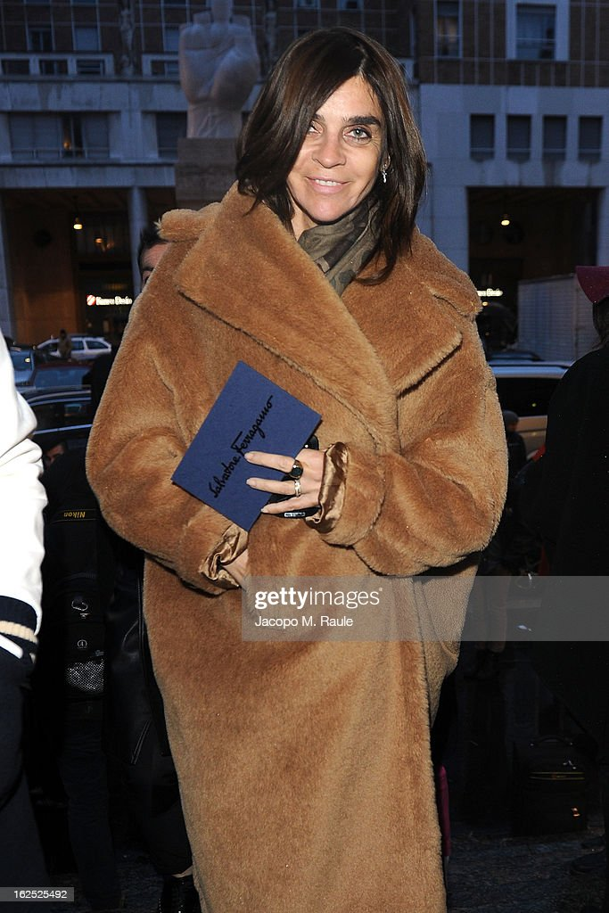 Carine Roitfeld attends the Salvatore Ferragamo fashion show as part of Milan Fashion Week Womenswear Fall/Winter 2013/14 on February 24, 2013 in Milan, Italy.