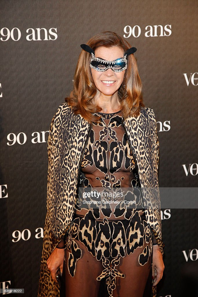 Carine Roitfeld attends the Vogue 90th Anniversary Party in Paris.
