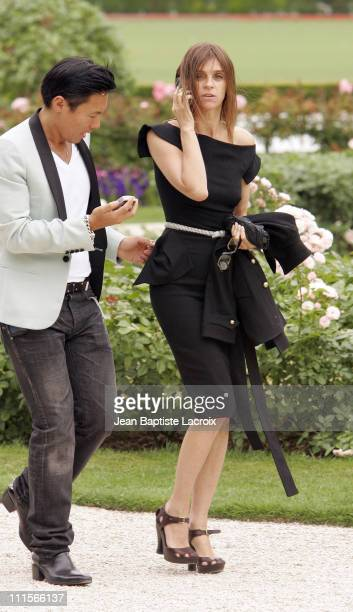 Carine Roitfeld editorinchief of French Vogue during Paris Haute Couture Fashion Week Fall/Winter 2005 Christian Dior Arrivals at Polo de Paris in...