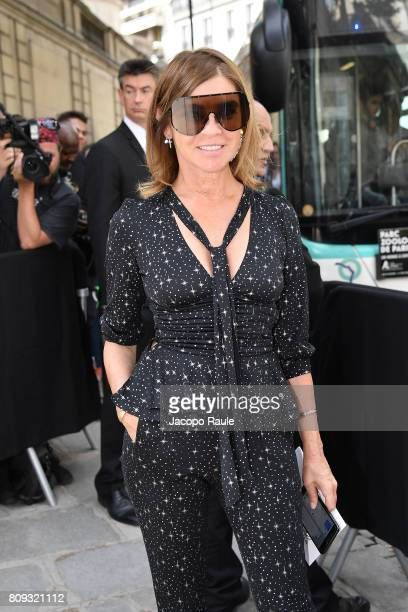 Carine Roitfeld is seen arriving at Valentino fashion show during the Paris Fashion Week Haute Couture Fall/Winter 20172018 on July 5 2017 in Paris...