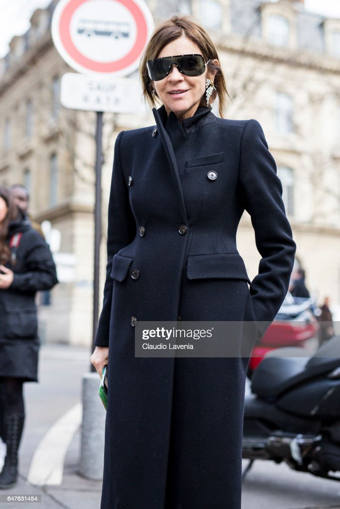 Carine Roitfeld is seen in the streets of Paris before the Issey Miyake show during Paris Fashion Week Womenswear Fall/Winter 2017/2018 on March 3, 2017 in Paris, France.