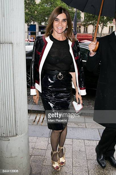 Carine Roitfeld is seen on the ChampsElysees Avenue on July 3 2016 in Paris France