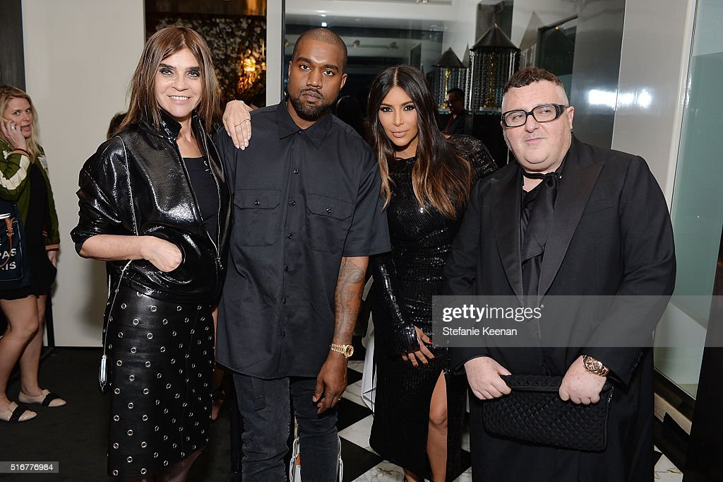 Carine Roitfeld, Kanye West, Kim Kardashian West and Alber Elbaz attend The Daily Front Row Fashion Los Angeles Awards Private Dinner Hosted By Eva Chow And Carine Roitfeld at Mr Chow on March 20, 2016 in Beverly Hills, California.