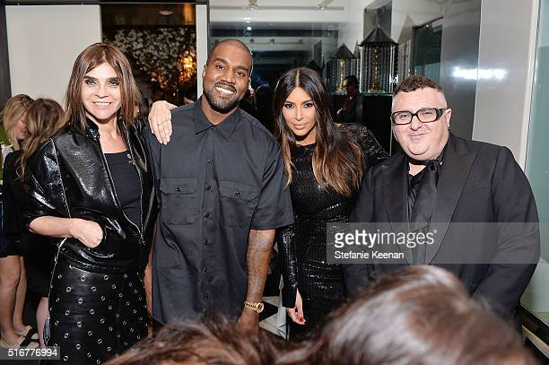 Carine Roitfeld Kanye West Kim Kardashian West and Alber Elbaz attend The Daily Front Row Fashion Los Angeles Awards Private Dinner Hosted By Eva...