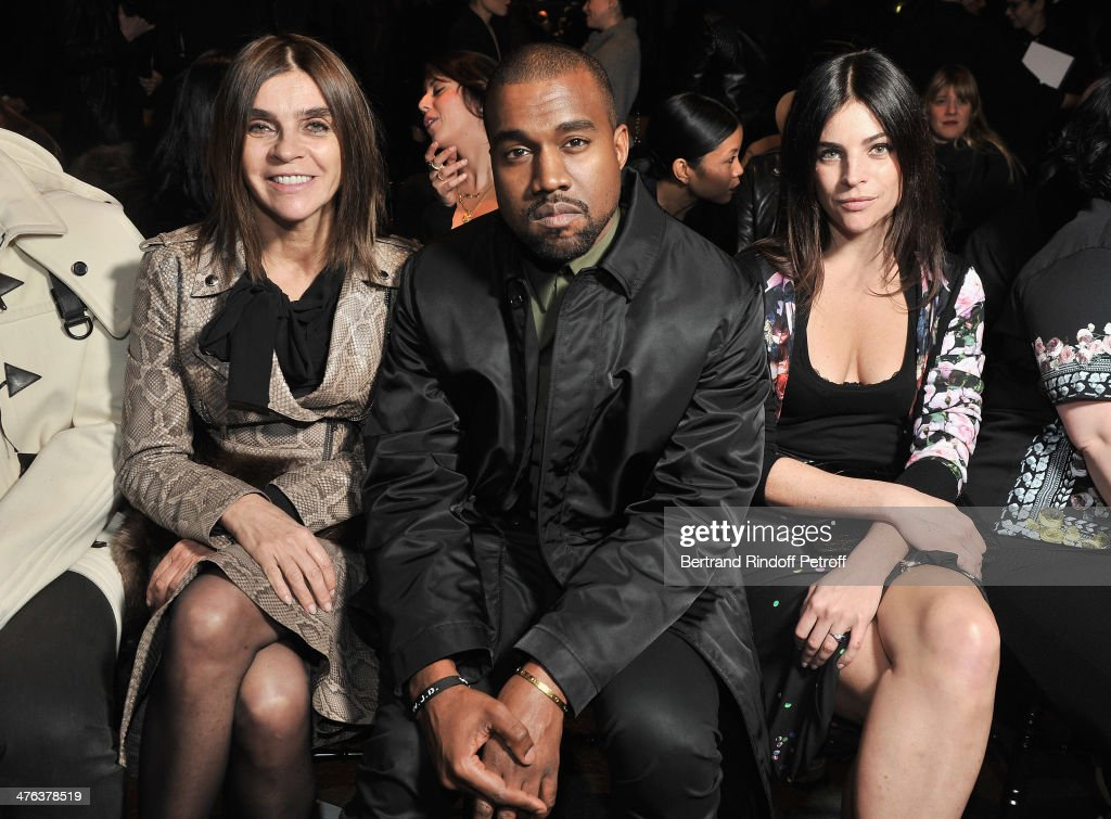 Carine Roitfeld, Kayne West and Julia Restoin Roitfeld attend the Givenchy show as part of the Paris Fashion Week Womenswear Fall/Winter 2014-2015 on March 2, 2014 in Paris, France.