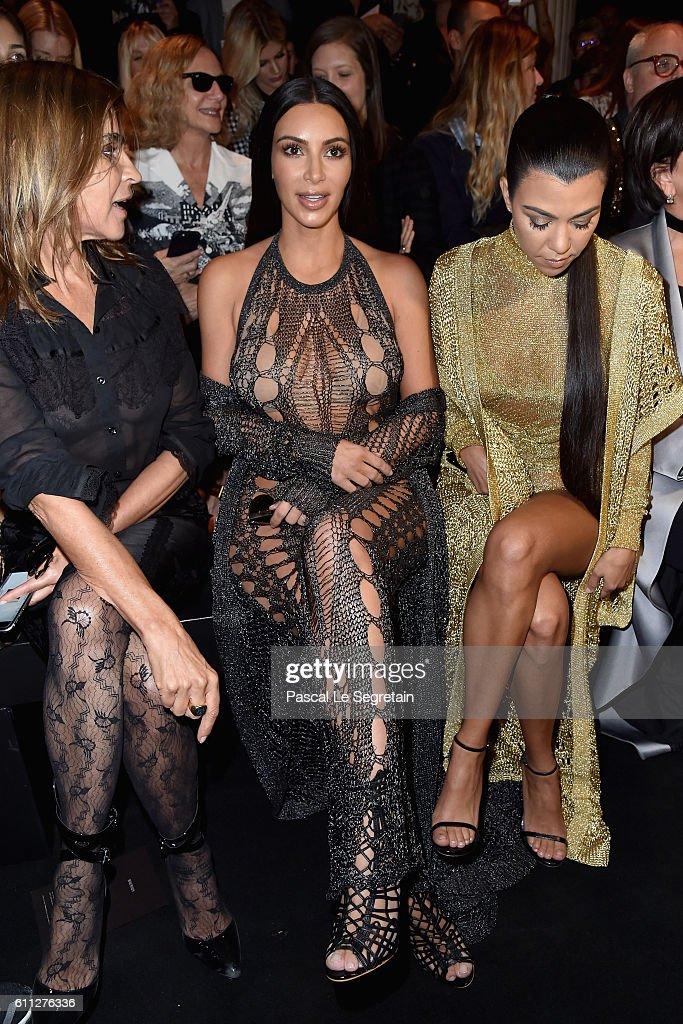 Carine Roitfeld, Kim Kardashian and Kourtney Kardashian attend the Balmain show as part of the Paris Fashion Week Womenswear Spring/Summer 2017 on September 29, 2016 in Paris, France.