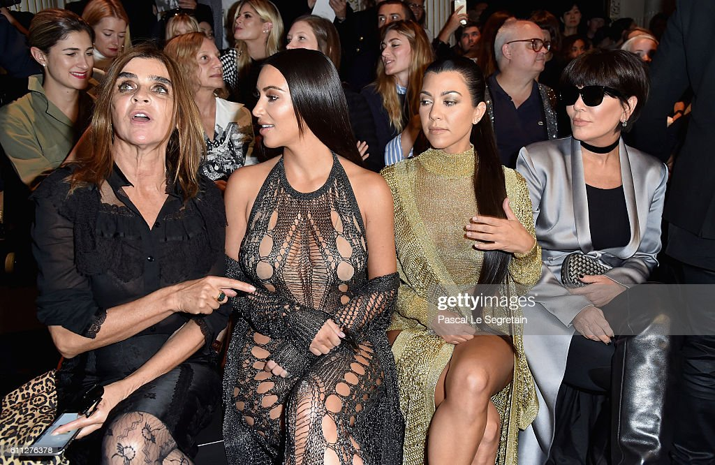 Carine Roitfeld, Kim Kardashian, Kourtney Kardashian and Kris Jenner attend the Balmain show as part of the Paris Fashion Week Womenswear Spring/Summer 2017 on September 29, 2016 in Paris, France.