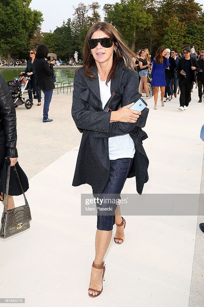 Carine Roitfeld leaves the Nina Ricci show as part of the Paris Fashion Week Womenswear Spring/Summer 2014 on September 26, 2013 in Paris, France.