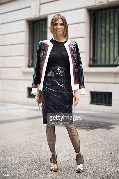Carine Roitfeld poses before the MIU MIU party on the Champs Elysees during Paris Fashion Week Haute Couture FW16/17 on July 3 2016 in Paris France