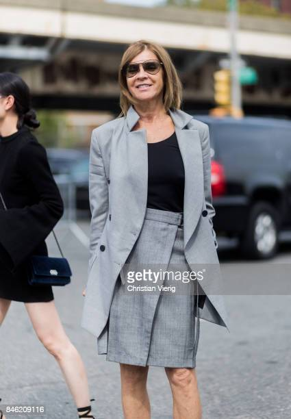 Carine Roitfeld wearing grey blazer jacket and skirt seen in the streets of Manhattan outside Coach during New York Fashion Week on September 12 2017...