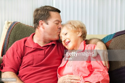 Caring For Elderly Mother : Stock Photo