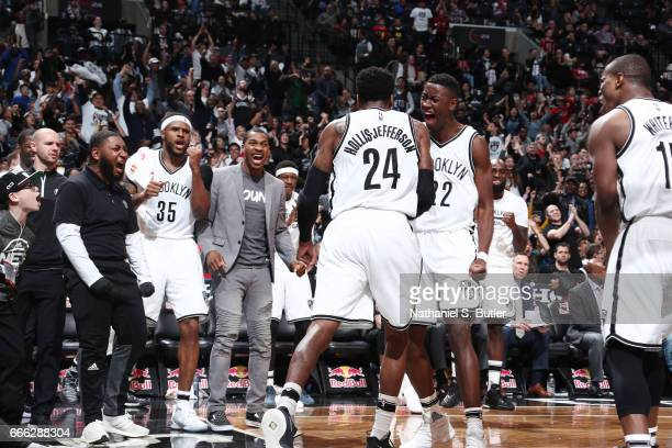 Caris LeVert of the Brooklyn Nets and his teammates react to a play against the Chicago Bulls during the game on April 8 2017 at Barclays Center in...