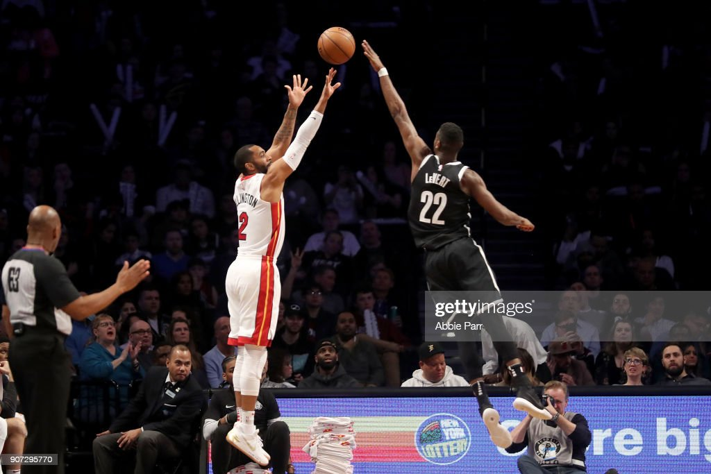 Caris LeVert #22 of the Brooklyn Nets blocks a shot by Wayne Ellington #2 of the Miami Heat in the second quarter during their game at Barclays Center on January 19, 2018 in the Brooklyn borough of New York City.
