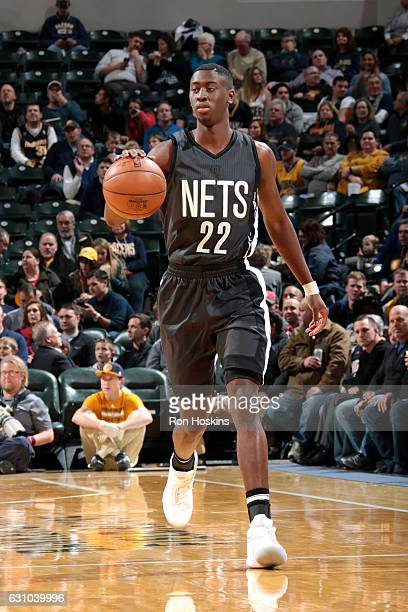 Caris LeVert of the Brooklyn Nets brings the ball up court during the game against the Indiana Pacers on January 5 2017 at Bankers Life Fieldhouse in...