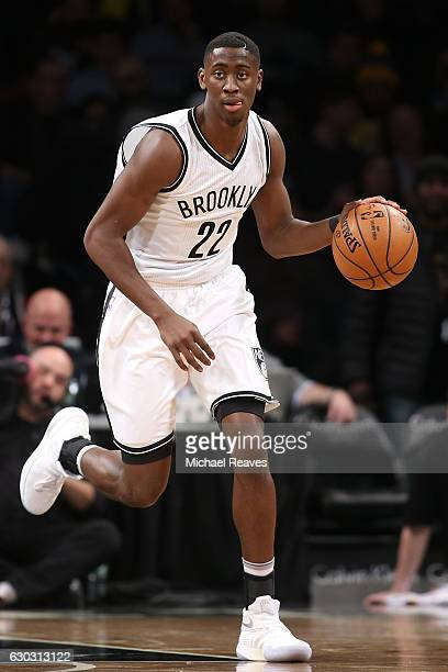 Caris LeVert of the Brooklyn Nets dribbles up the court against the Los Angeles Lakers in the first half at Barclays Center on December 14 2016 in...