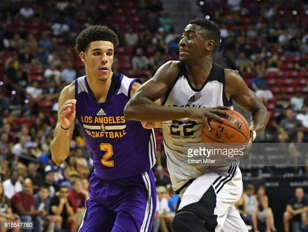 Caris LeVert of the Brooklyn Nets drives against Lonzo Ball of the Los Angeles Lakers during the 2017 Summer League at the Thomas Mack Center on July...