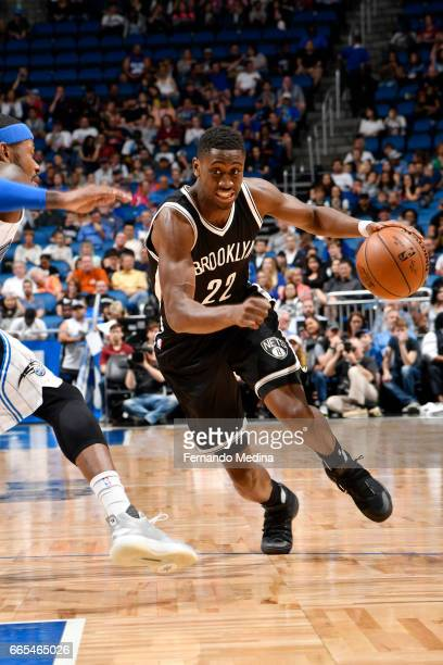 Caris LeVert of the Brooklyn Nets drives to the basket against the Orlando Magic during the game on April 6 2017 at Amway Center in Orlando Florida...