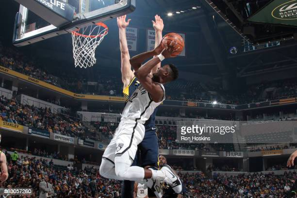 Caris LeVert of the Brooklyn Nets drives to the basket against the Indiana Pacers on October 18 2017 at Bankers Life Fieldhouse in Indianapolis...