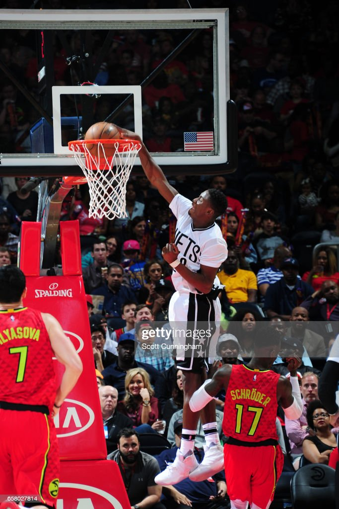 Caris LeVert #22 of the Brooklyn Nets dunks against the Atlanta Hawks on March 26, 2017 at Philips Arena in Atlanta, Georgia.
