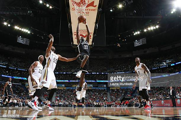 Caris LeVert of the Brooklyn Nets dunks against the New Orleans Pelicans on January 20 2017 at the Smoothie King Center in New Orleans Louisiana NOTE...