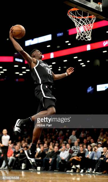 Caris LeVert of the Brooklyn Nets dunks the ball in the second half against the Utah Jazz during their game at Barclays Center on November 17 2017 in...