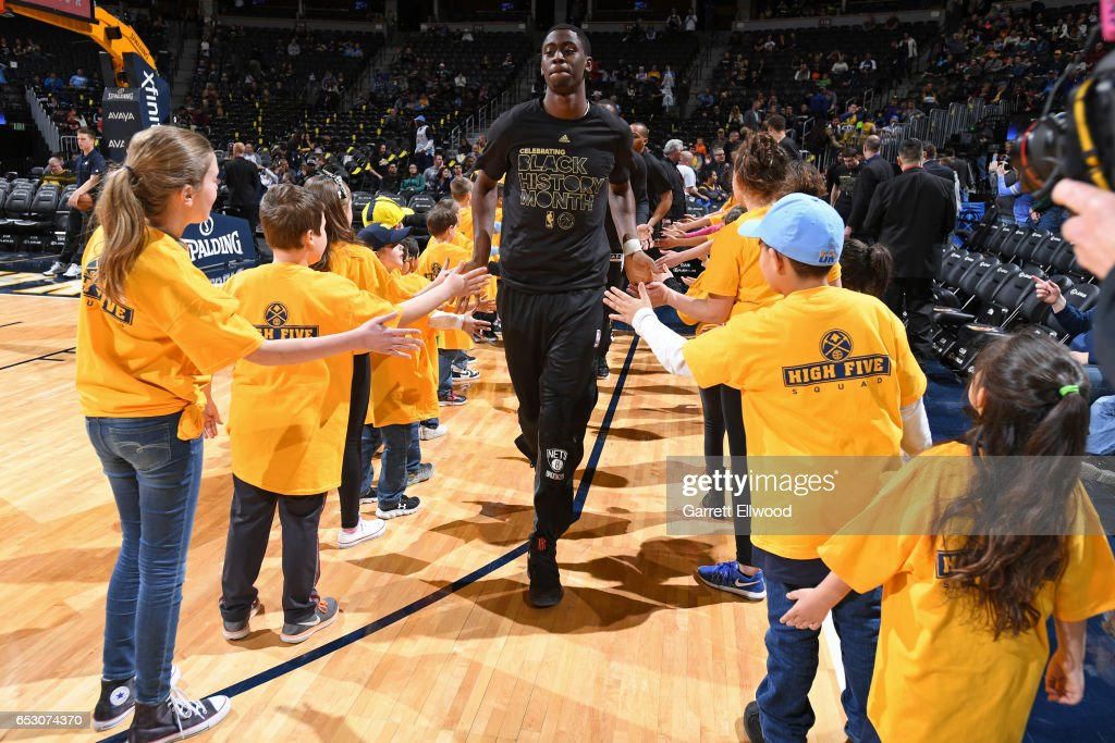 Caris LeVert #22 of the Brooklyn Nets enters the court before the game against the Denver Nuggets on February 24, 2017 at the Pepsi Center in Denver, Colorado.