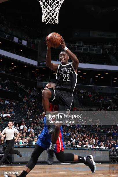 Caris LeVert of the Brooklyn Nets goes to the basket against the Detroit Pistons on March 21 2017 at Barclays Center in Brooklyn New York NOTE TO...