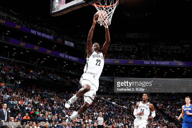Caris LeVert of the Brooklyn Nets goes up for a dunk against the New York Knicks during a preseason game on October 8 2017 at Barclays Center in...