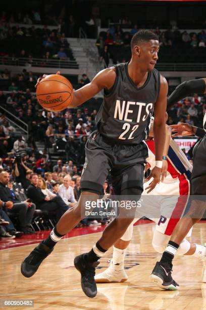 Caris LeVert of the Brooklyn Nets handles the ball during the game against the Detroit Pistons on March 30 2017 at The Palace of Auburn Hills in...