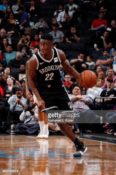 Caris LeVert of the Brooklyn Nets handles the ball during the game against the Atlanta Hawks on October 22 2017 at Barclays Center in Brooklyn New...