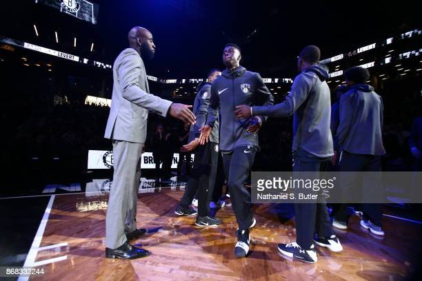 Caris LeVert of the Brooklyn Nets is introduced before the game against the Denver Nuggets on October 29 2017 at Barclays Center in Brooklyn New York...