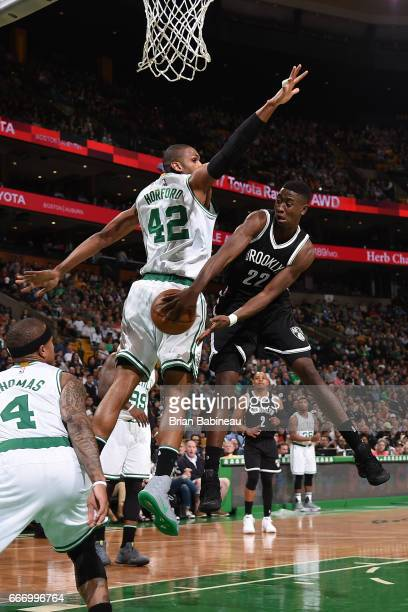 Caris LeVert of the Brooklyn Nets passes the ball against the Boston Celtics on April 10 2017 at the TD Garden in Boston Massachusetts NOTE TO USER...