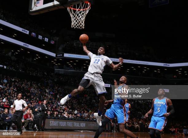 Caris LeVert of the Brooklyn Nets shoots a lay up against the Oklahoma City Thunder during the game on March 14 2017 at Barclays Center in Brooklyn...