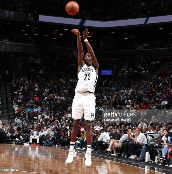 Caris LeVert of the Brooklyn Nets shoots the ball against the Chicago Bulls during the game on April 8 2017 at Barclays Center in Brooklyn New York...