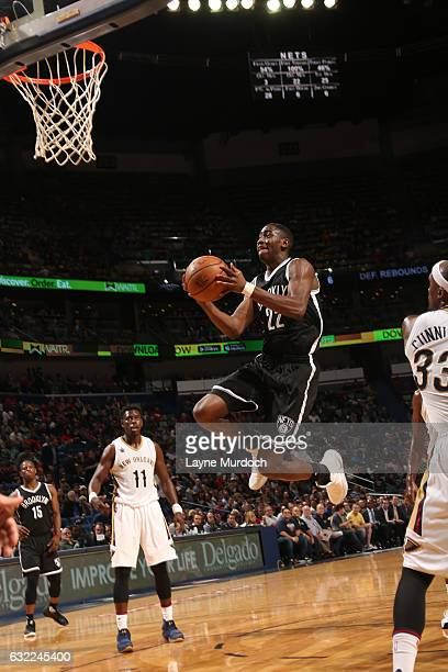 Caris LeVert of the Brooklyn Nets shoots the ball against the New Orleans Pelicans on January 20 2017 at the Smoothie King Center in New Orleans...
